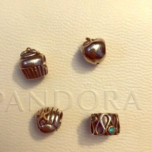 Pandora charms with 14k gold accent